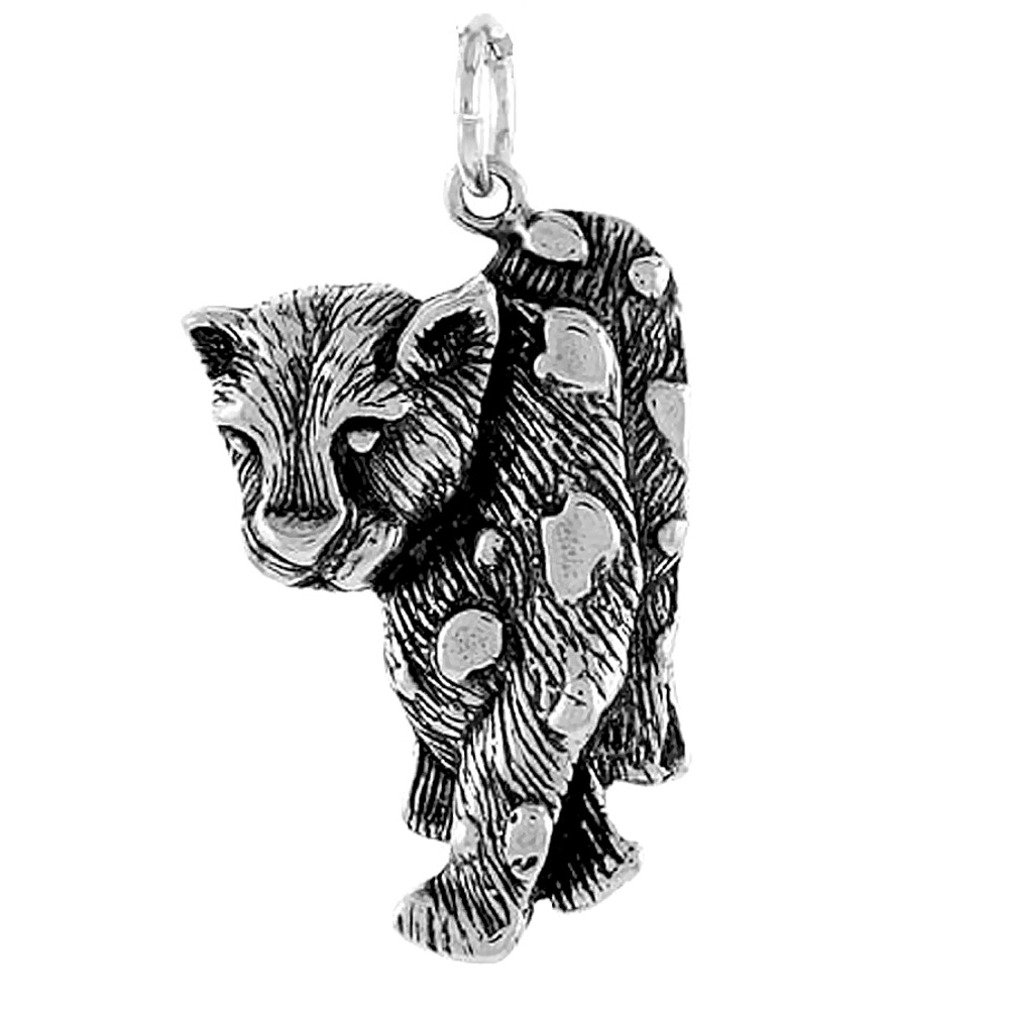 Sterling Silver Girls .8mm Box Chain Walking Spotted Panther Or Leopard Pendant Necklace