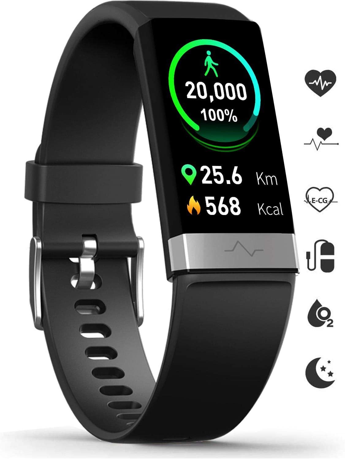 MorePro Fitness Activity Tracker Heart-Rate Blood-Pressure Monitor, IP68 Waterproof Smart Watch with Blood Oxygen HRV Health Sleep Tracking, Calorie Counter Pedometer for Men Women