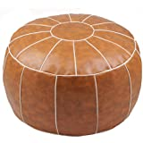 ZEFEN Decorative Pouf Foot Stool Round Unstuffed Leather Ottoman Cushion Storage seat or for Resting Your Feet on , Floor Cha