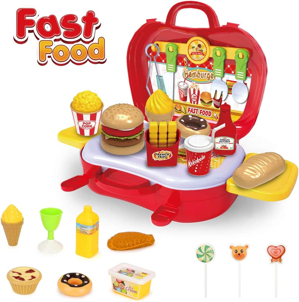 BeebeeRun Play Food Toys,Pretend Play Kitchen Set,Hamburger French Fries Fast Food Set for Toddler Girls Boys, Toddlers Pretend Food Playset Children Toy Food Set