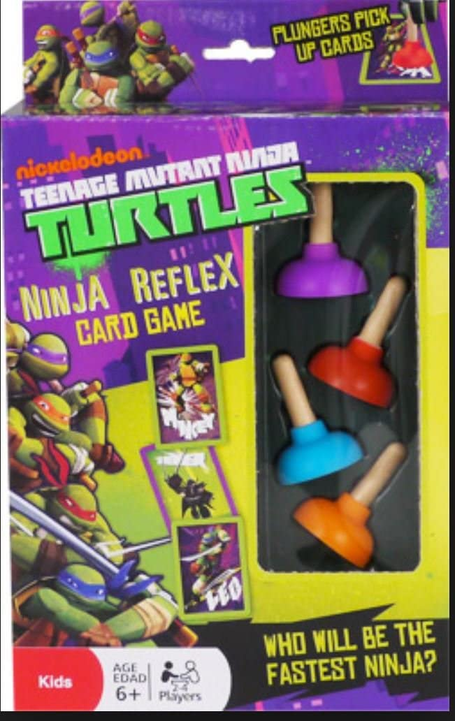 Teenage Mutant Ninja Turtle Reflex Card Game Plunger Pick Up Cards