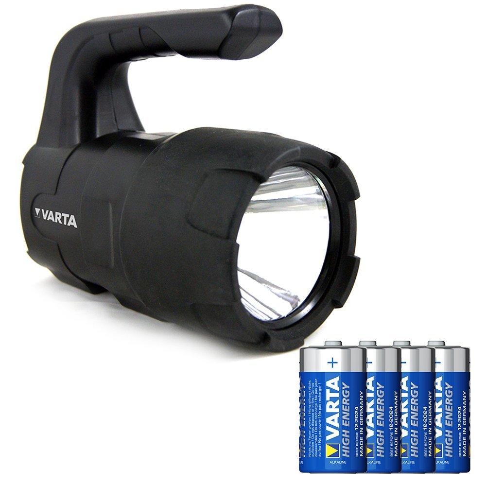 Varta Indestructible 1 Watt LED F10 Taschenlampe/Arbeitsleuchte (inkl. 3 Longlife Power AAA Batterien, kratzfestes und spritzwassergeschütztes Gehäuse) 18700101421