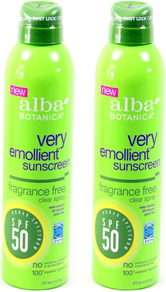 Alba Botanica Spf50 Sunscreen 6 Ounce Clear Spray Fragrance Fre (177ml) (2 Pack)