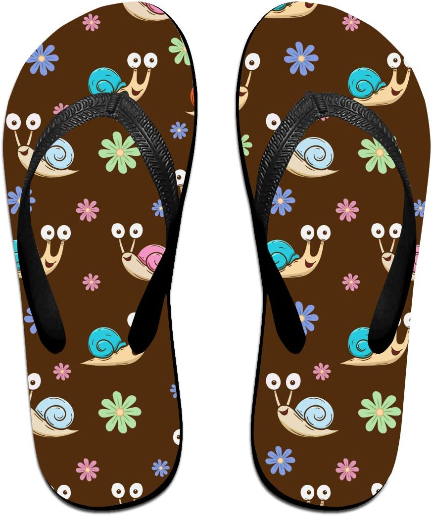 GQOP Unisex Flip Flops Cute Snail Cartoon Personalized Thong Sandals Beach Sandals