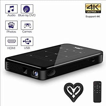 Jacksking Mini proyector, portátil 3D HD Smart DLP Proyector ...