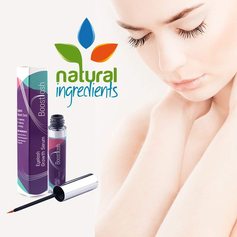 BoostLash Eyelash Growth Serum Gives You Longer Thicker Fuller & 3X Healthier Lashes (in 30 days), Proudly Made in USA. Premium Quality Ingredients Using Grape Stem Cell Extract (Buy 1)