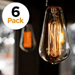 6-Pack Vintage Edison Filament Light Bulb - ST64 - Dimmable - by Newhouse Lighting, Medium Standard Base E27 - Squirrel Cage