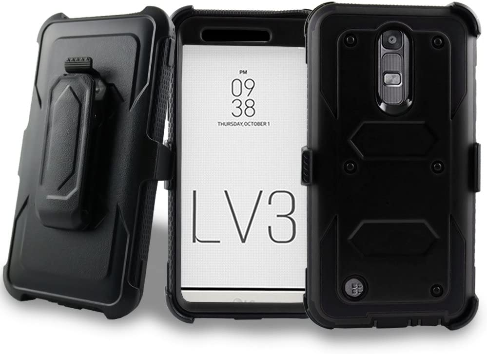 LG Aristo Case, LG LV3 Case, LG LV 3 Case, Mstechcorp Full-body Rugged Holster Case with Built-in Screen Protector for LG LV3/LG Aristo(MetroPCS) with Gift (Black)