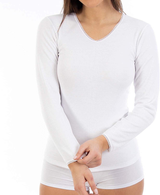 Pack Ahorro de 6 Unidades - Camiseta Interior Termal de Mujer L105, de Manga Larga y Cuello de Pico con puntilla. Misma Talla y Color.: Amazon.es: Ropa y accesorios