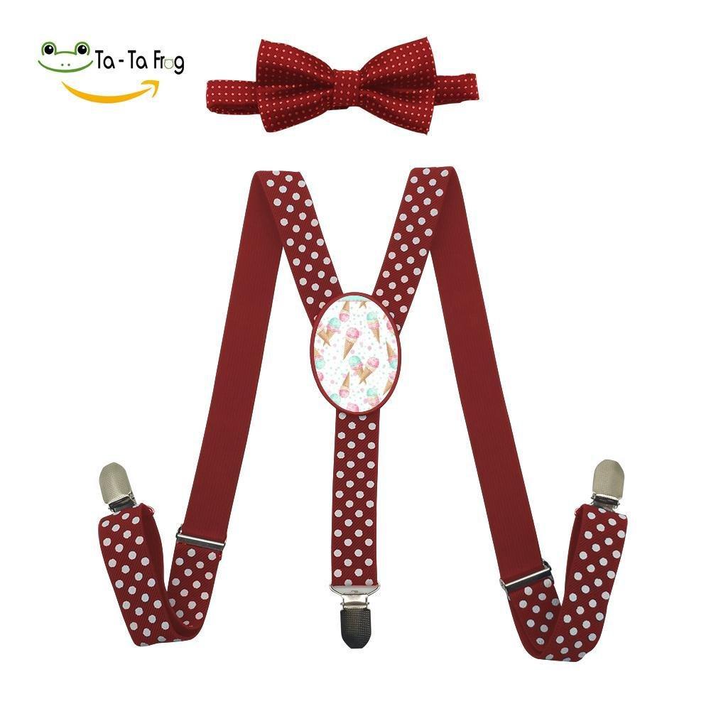 Xiacai Ice Cream Suspender&Bow Tie Set Adjustable Clip-On Y-Suspender Boys