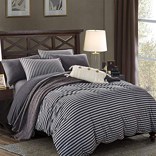 PURE ERA Duvet Cover Set Cotton Jersey Knit Ultra Soft Comfy Striped 3 PCs Home Bedding Sets (1 Duvet Cover+ 2 Pillow Shams, Comforter Not Included) Charcoal Black Grey King (Duvet Cover Charcoal Size King)