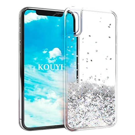 coque iphone xr paillette liquide rouge