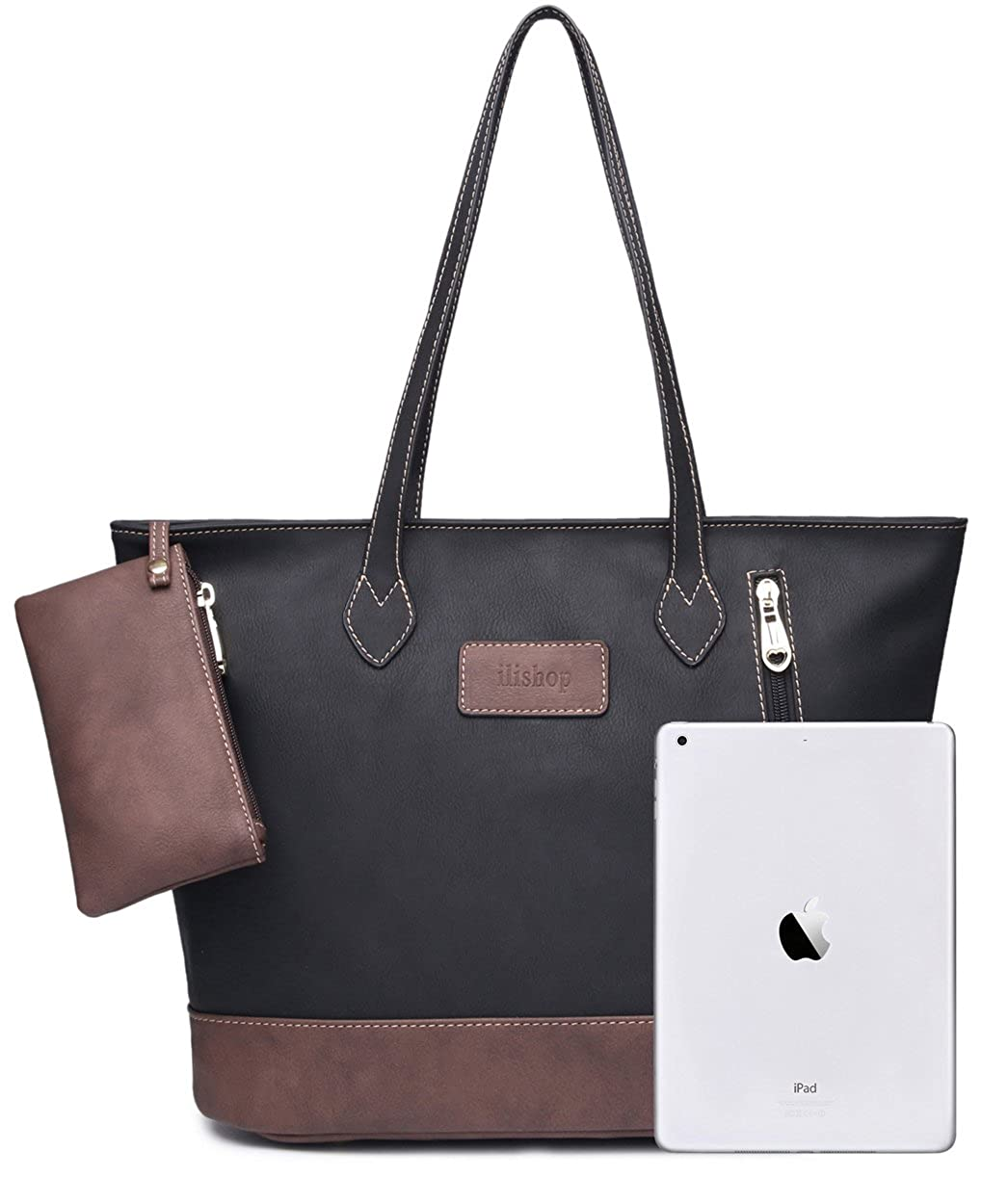 b2b8d8e680 Amazon.com  ilishop Women s PU Leather Tote Handbag Contrast Color Shoulder  Bag (Black)  Shoes