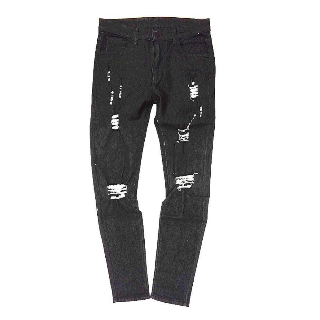 GREFER Men's Pants Stretchy Ripped Skinny Biker Jeans Destroyed Taped Slim Fit Denim Pants
