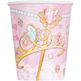 9oz Jeweled Pink Princess Party Paper Cups, 8ct