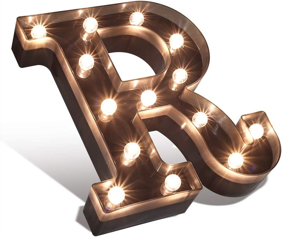 Decorative LED Illuminated Letter Marquee Sign - Alphabet Marquee Letters with Lights for Wedding Birthday Party Christmas Night Light Lamp Home Bar Decoration -R