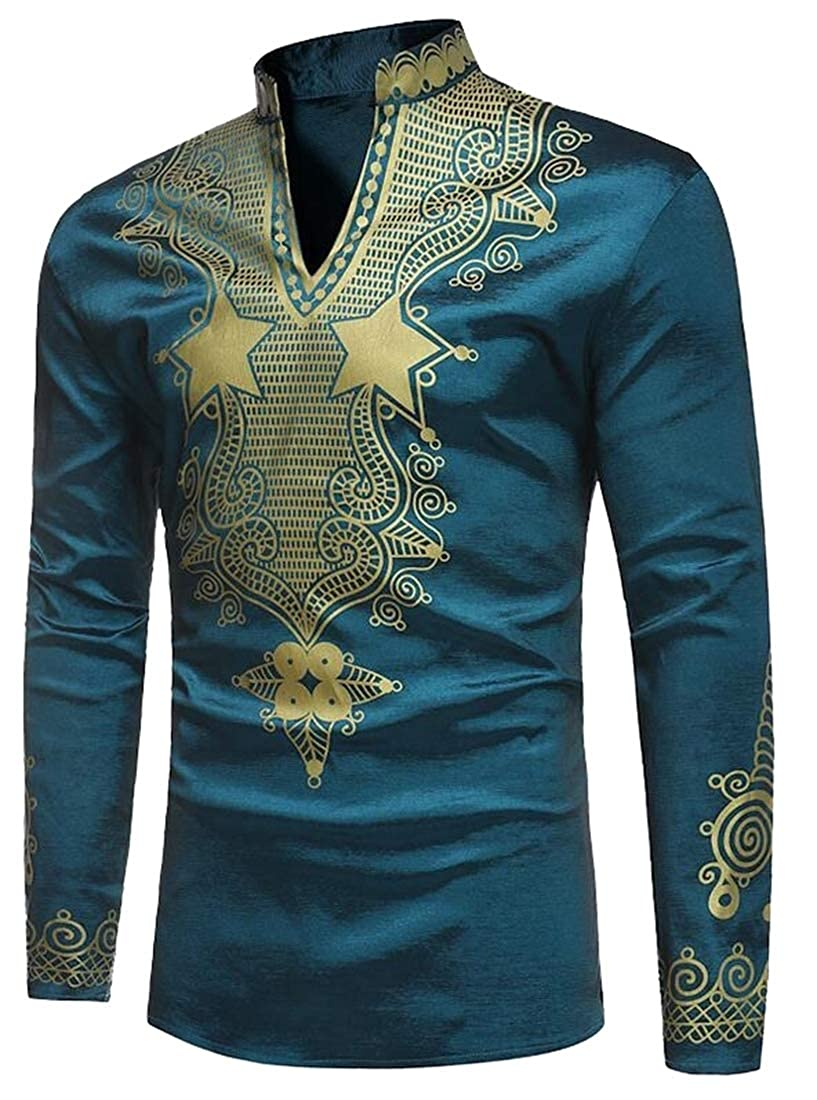 Mens Long Sleeve Dashiki African Shirt Slim Fit Stylish Tribal Print Tops