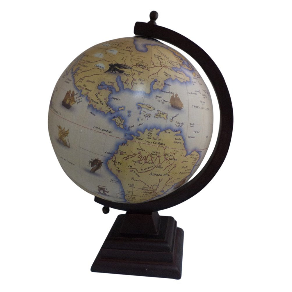 Antique Home Office tavolo Geography Earth Globe Ocean supporto in legno grande rotante globo 30, 5  cm 5 cm BambooTreeJewels