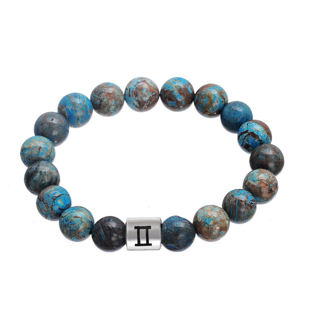 Lemegeton Handmade 12 Zodiac Gemini Bracelet Punk Astrology Horoscopes 10 mm Beads Bracelet Men 2017 BiChuang BC-B108819-3