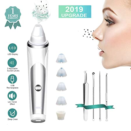 Blackhead Remover Pore Vacuum Cleaner,KEESCA Blackhead Vacuum Extractor Tool Device Comedone Suction Kit Electric Face Nose Blackhead Whitehead Remover with 5 Replaceable Suction Head and LED Screen