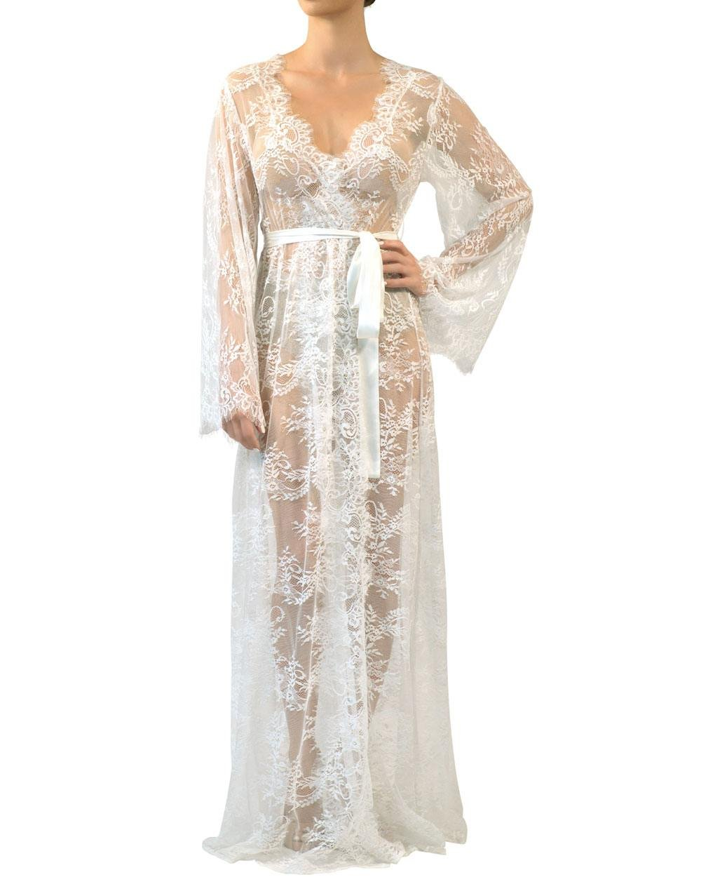 Nudwear Luxury French Eyelash Lace Robe Bridal Robe Honeymoon Kimono (M/L, White - Long)
