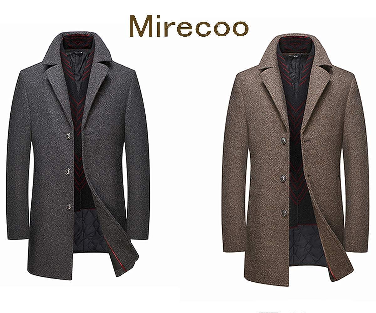 Mirecoo Business Manteau chaud en laine pour homme, manteau d'hiver court Grau 2