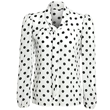 bd09060d Womens Polkabot Sheer Pussybow Blouse: Amazon.co.uk: Clothing
