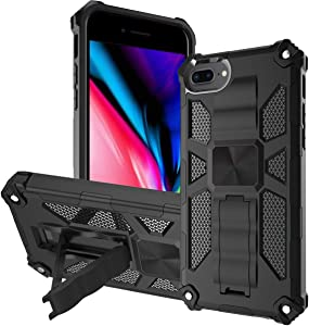 KUAWEI Kickstand Case for iPhone 8 Plus iPhone 7 Plus iPhone 6/6S Plus, Military Grade Full-Body Rugged Dual-Layer Holster Case with Built-in Kickstand for Apple iPhone 8/7/6S/6 Plus (Black)