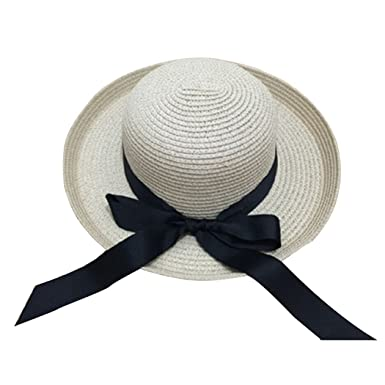 428bc0ae51104 Women s Fashion Sun Hat Black Bowknot Ribbon Flanging Straw Hat at ...