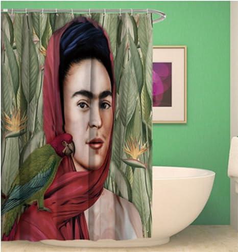 Shower Curtain Bathroom Waterproof Frida Kahlo Coffee And Cigarettes Bath Decor Anti Mildew
