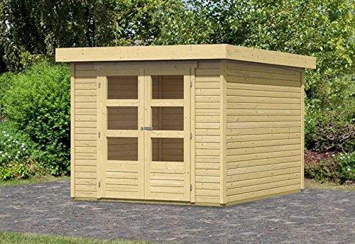 Karibu Woodfeeling Gartenhaus Askola 4 natur 19 mm Außenmaß (B x T): 302 x 217 cm Dachstand (B x T): 329 x 237 cm Wandstärke: 19 mm umbauter Raum: 12,8 cbm Bauweise: Systembauweise Ausführung: naturbelassen