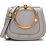 NEW Genuine Leather Double Big Metal Circle Rings Saddle Rivets Handbags Vintage Crossbody Messenger Shoulder Bags Women Female
