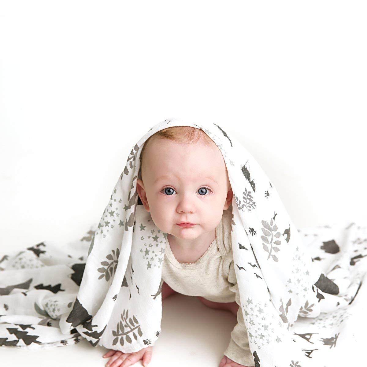 Muslin Swaddle Blanket Set 'Adventurer' Large 47x47 inch | Super Soft Bamboo Blankets | Arrow, Feather and Stars | 3 Pack Baby Shower Gift Bundle of Swaddles for Boys and Girls | 10,000 Wash Warranty by Kids N' Such (Image #3)