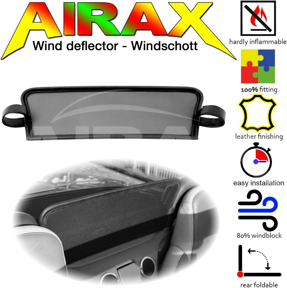Airax Windschott f/ür MX-5 MX5 MK3 Windabweiser Windscherm Windstop Wind deflector d/éflecteur de vent