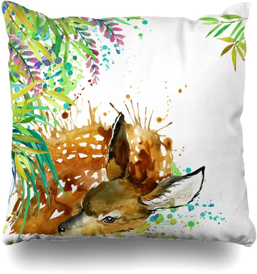 Klotr Decorative Fundas para Almohada Celebrate Red Antelope Tropical Exotic Forest Green Rain Leaves Watercolor Book Cute Design Drawing Home Decor Pillowcase Square Size 18