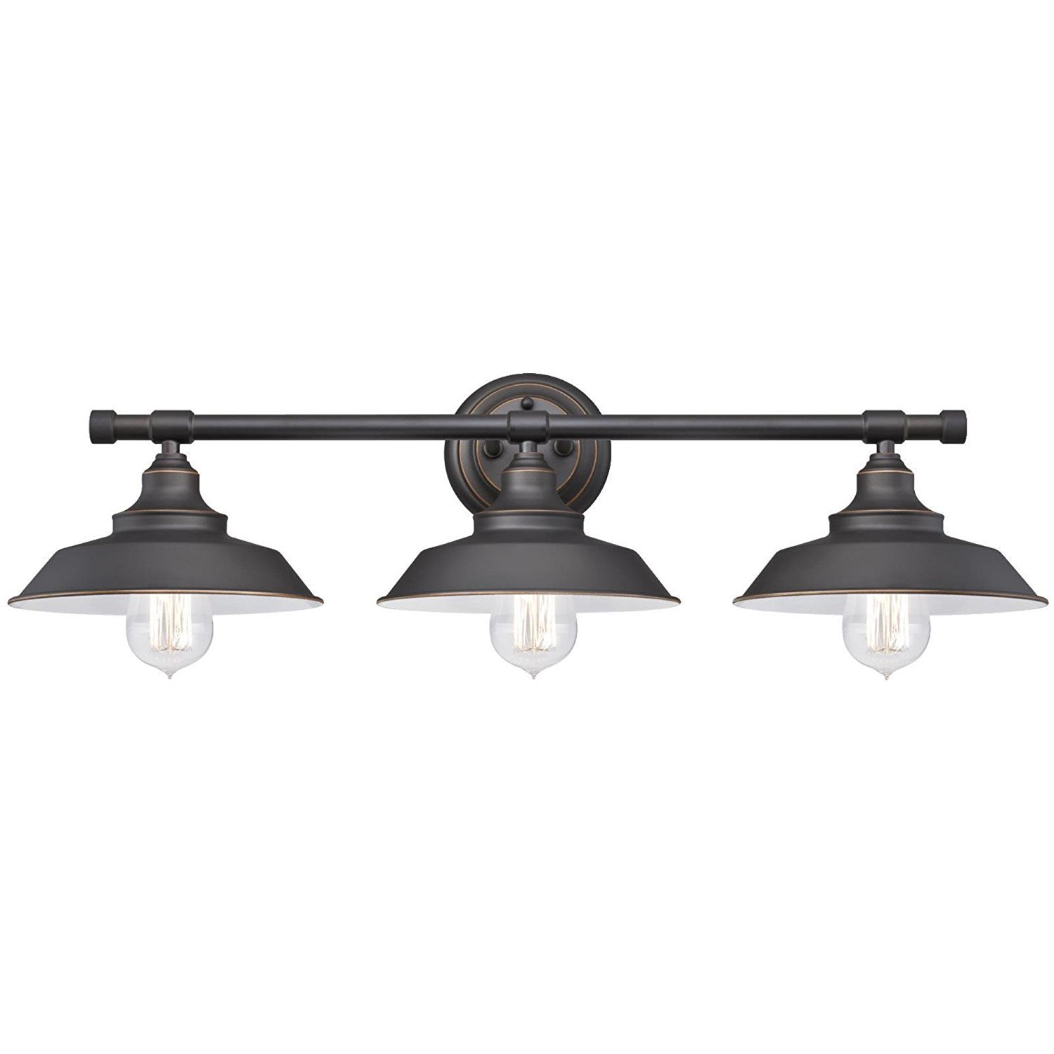 Dysmio - Three-Light Indoor Wall Fixture, Oil Rubbed Bronze Finish with Highlights and Metal Shades by Nuvo
