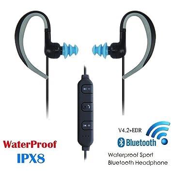 AOVOI Colgante de Oreja Auricular Bluetooth Mini Deportes Natación micrófono inalámbrico Impermeable submarina Binaural Estéreo inalámbrico