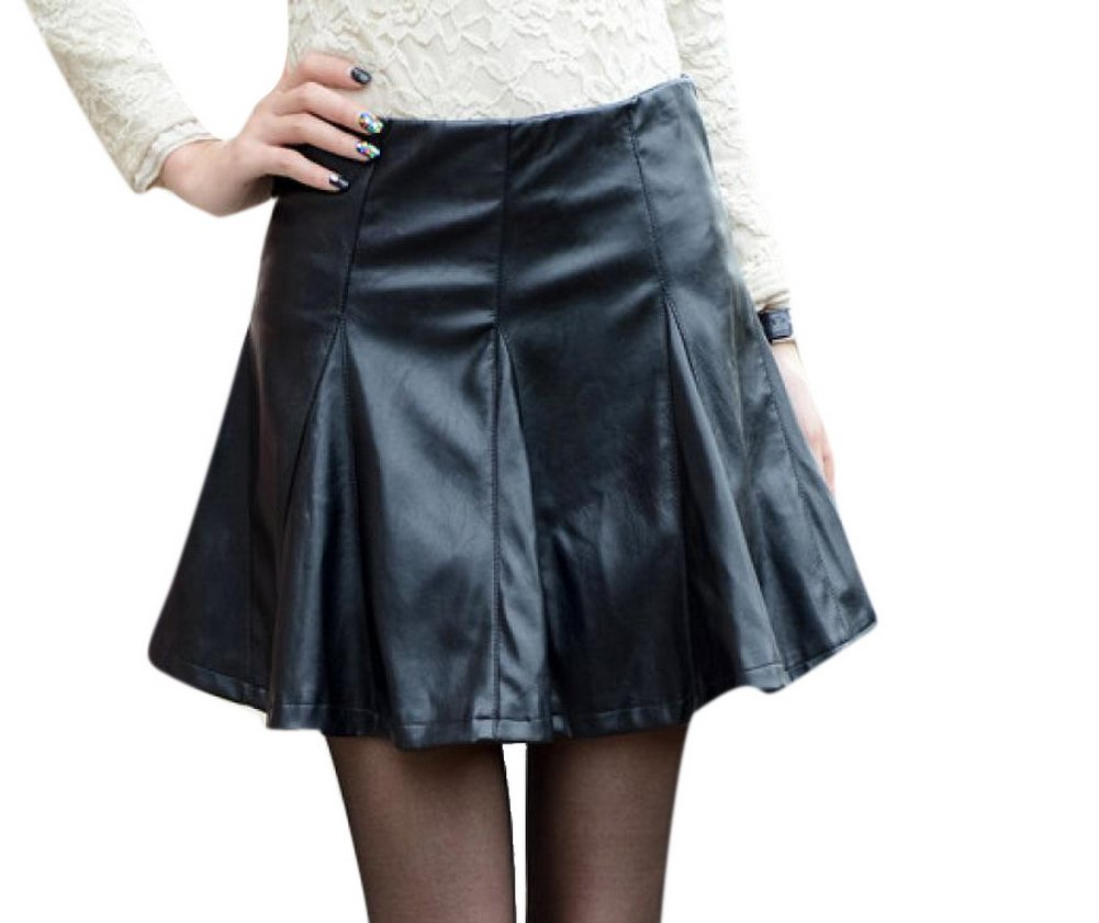 Enlishop Women's Black Faux Leather High Waist Flare Pleated Short Mini Skirt