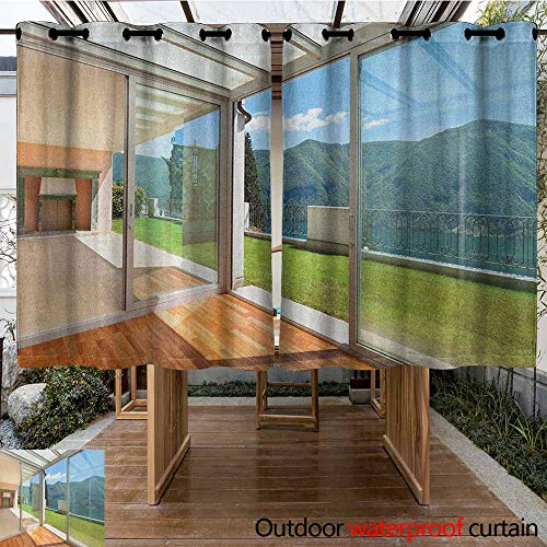 Indoor/Outdoor Curtains,Landscape,Apartment Villa with Patio and Garden Mountain Ocean Sunny Image,Insulated with Grommet Curtains for Bedroom,K183C160 White Forest Green and Blue ()
