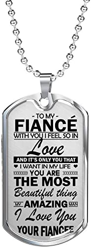 To My Fiance Necklace Dog Tag Chain Sentimental Gift For Men I Love You Gifts Ideas For Your Future Husband Amazon Com