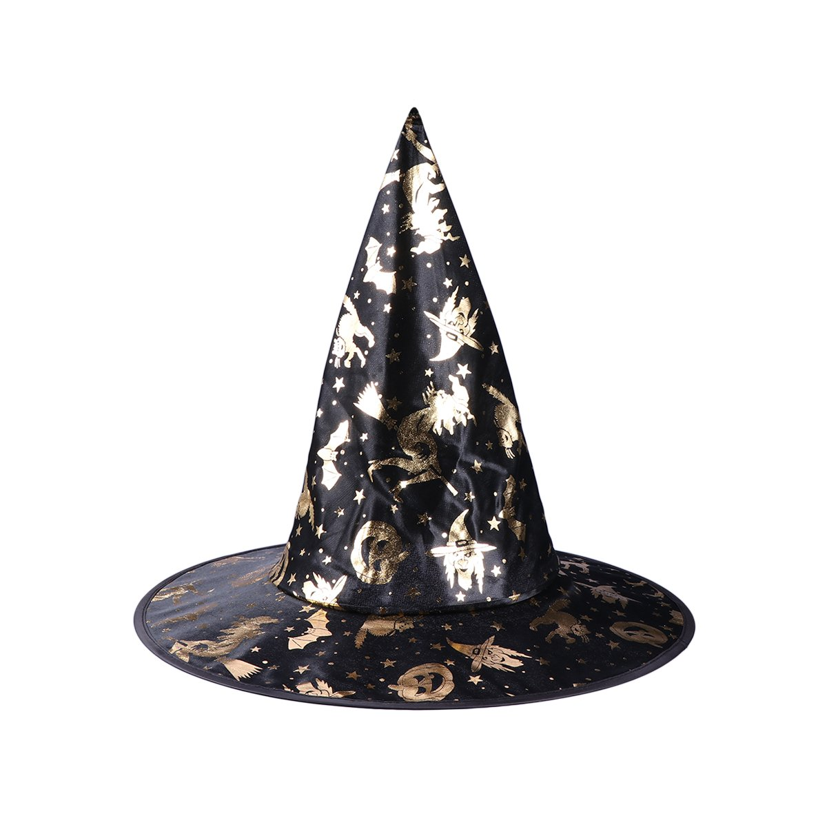 338cadc8c67 Amazon.com  AMOSFUN Wizard Hats Pumpkin Pattern Witch Hat Party Hat  Halloween Costumes Halloween Party Props Cosplay Costume Accessories for  Children Adult  ...