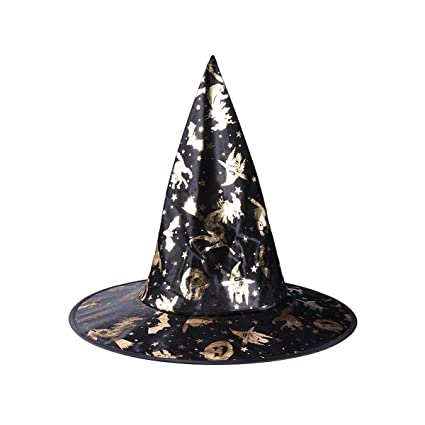 Amazon.com  LUOEM Wizard Hats Pumpkin Pattern Witch Hat Party Hat Halloween  Costumes Halloween Party Props Cosplay Costume Accessories for Children  Adult  ... b2fa6ca1004a