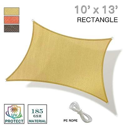 REPUBLICOOL 10'x13' Sand Rectangle Sun Shade Sail UV Block for Outdoor Patio Garden : Garden & Outdoor