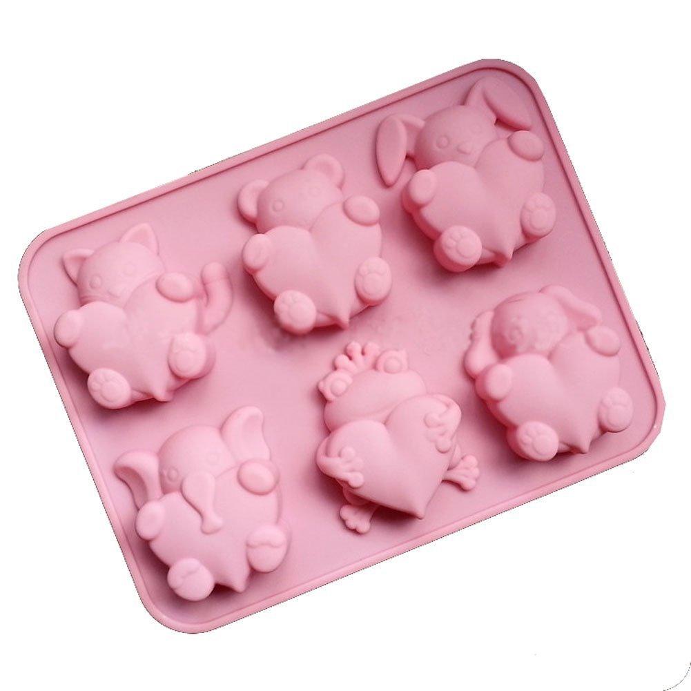 fablcrew Cute Love rana conejo perro Chocolate Cake Mold Cookie Fondant molde para fiesta Bar Casa 6 agujeros: Amazon.es: Hogar