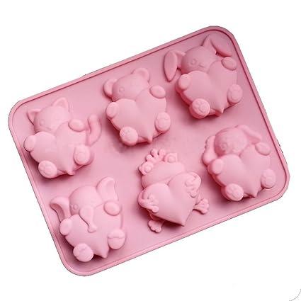 CAOLATOR Silicona Moldes 6 Forma de Corazón Animales Pequeños Molde Pastel Cumpleaños Recién Nacido DIY Práctico