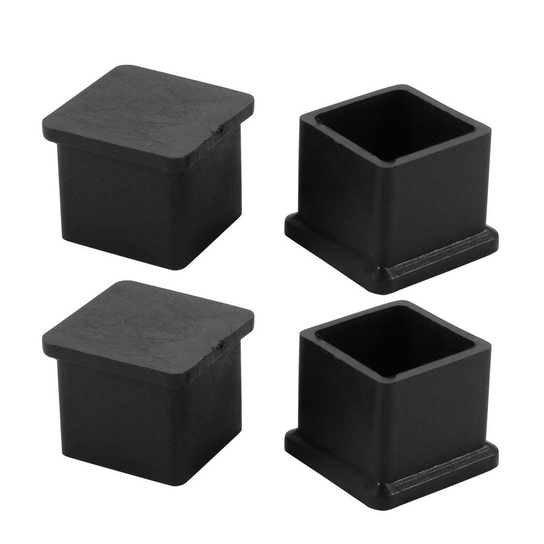 sourcing map 4Stk PVC-Gummi Quadrat Stuhl Einsatz Bodenbelag Protektor 21x21mm Schwarz de