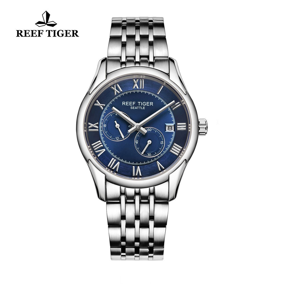 Reef Tiger Business Watches Date Four Hands Stainless Steel Blue Dial Watch RGA165 by REEF TIGER