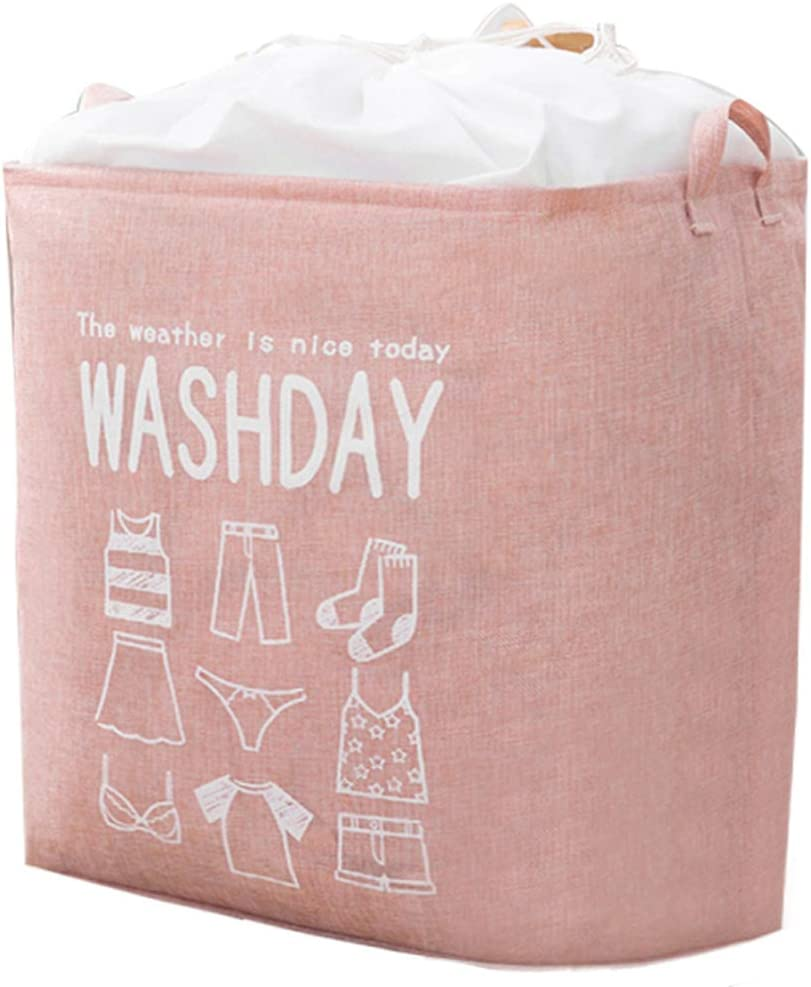 "SMYH 21"" x 17"" Clothes Laundry Hamper Storage Bin Large Sized Folding Laundry Basket with Handle Laundry Bags Dirty Clothes Hamper Baby Nursery (75L Pink)"
