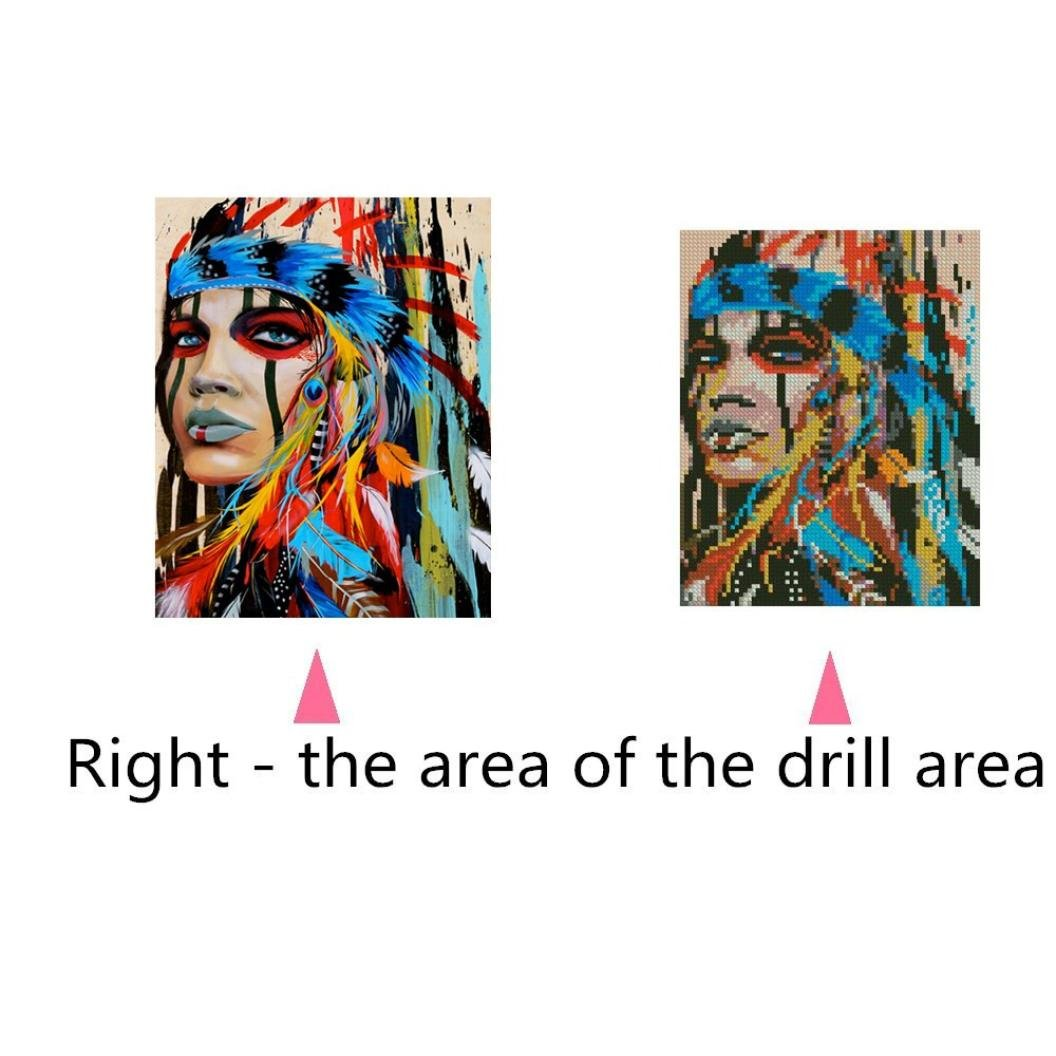 A Geyou 5D Diamond Painting Full Drill Indian Woman Stitch DIY Embroidery Diamond by Number Kits Wall Decor Gift New,Crafts /& Sewing Cross Stitch