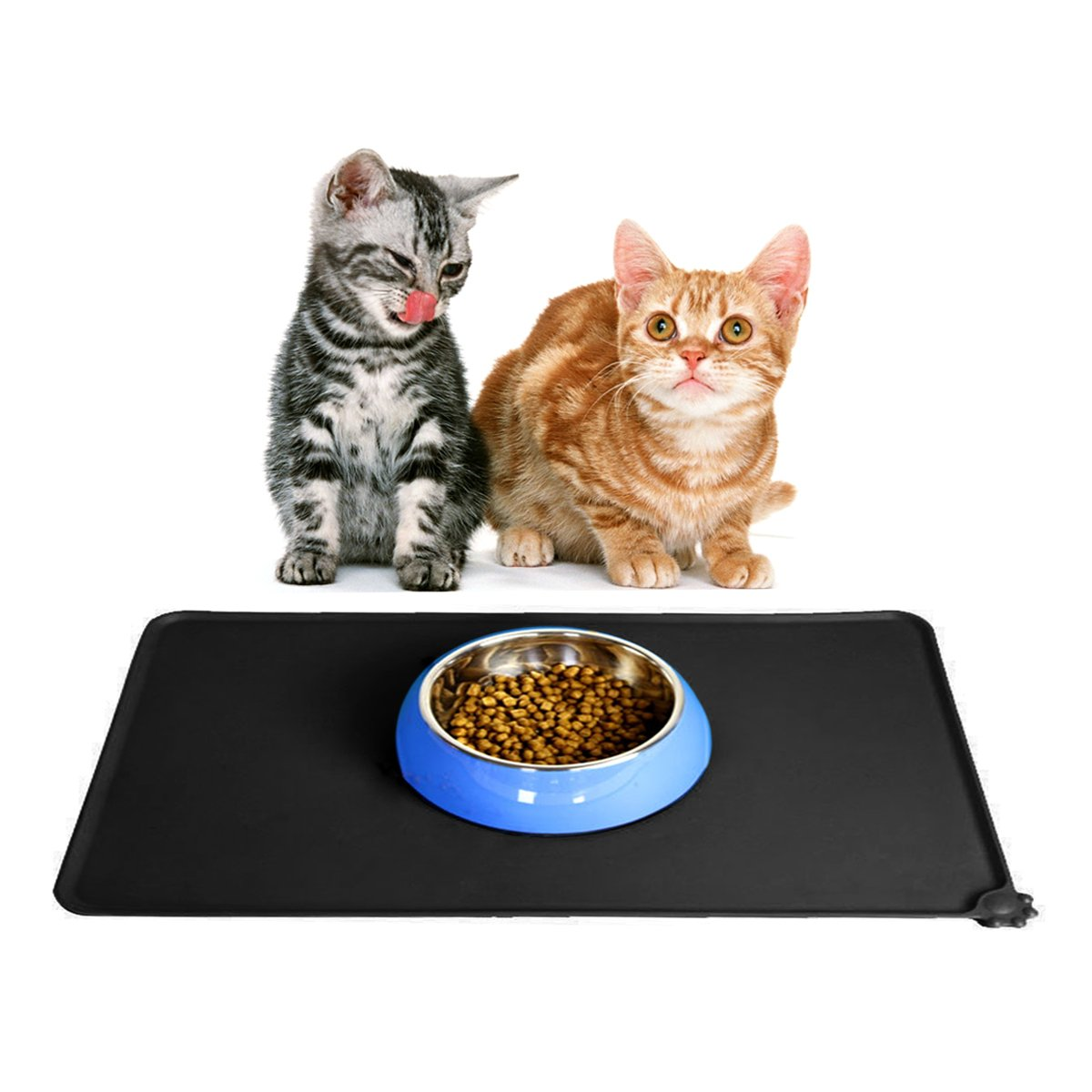 Alfombrilla para alimentos para mascotas, Aodoor FDA Alimentación de grado de silicona para mascotas de alimentación, Negro(47*30)